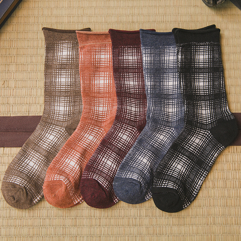 Women Girls Fashion Socks 2019 Japanese Korean Style Harajuku Lattice Print Spring Autumn Cotton Causal Women Girls Socks in Socks from Underwear Sleepwears