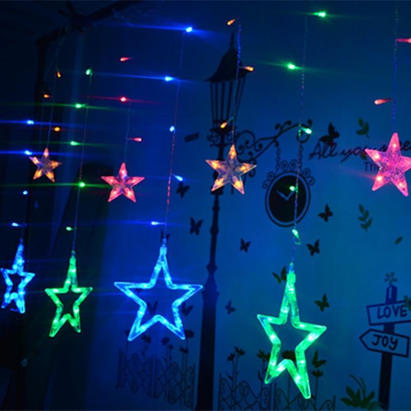 Högkvalitativ 110V / 220V Romantisk LED String Star Gardin Ljus Jul - Festlig belysning - Foto 3