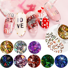 hot deal buy hot mixed 26 letters 3d nail glitter sequins laser nail stick manicure nail art decorations nails girls gift