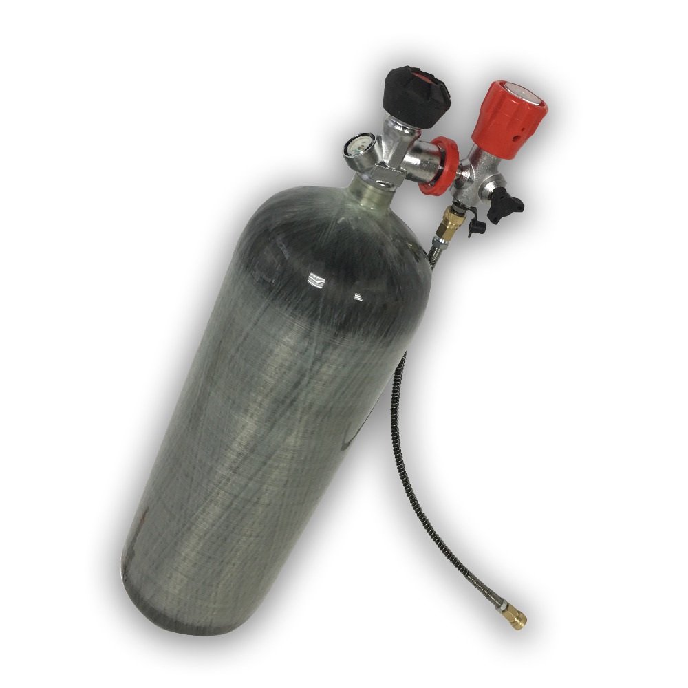 AC109301 Carbon Fiber Gas Cylinder 9L 4500Psi 30Mpa CE Certified PCP Airsoft Tank Breathing Machine With Gauge Valve Pcp Airforc
