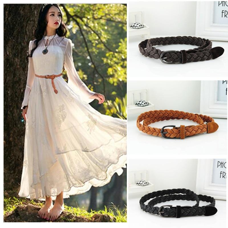 Venta caliente nuevo cinturón para mujer nuevo estilo caramelo colores cáñamo cuerda trenza cinturón femenino para vestido