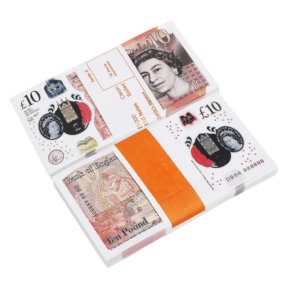 Gros PROP argent réaliste UK livres GBP britannique anglais banque 100 10 billets parfait pour les Films Films publicité médias sociaux