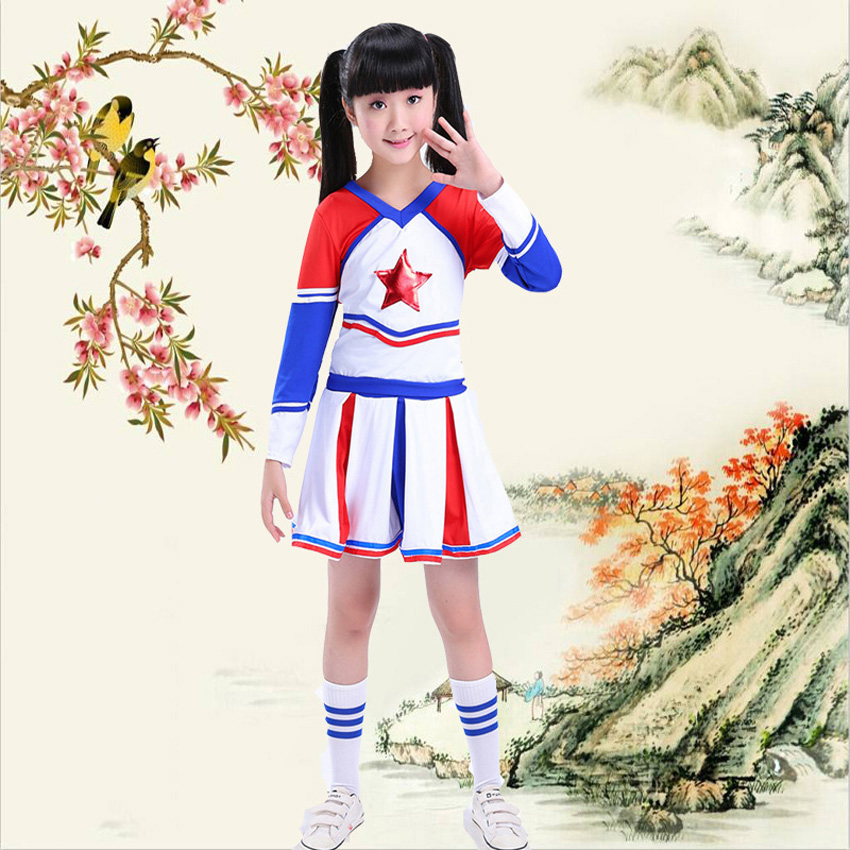 120-170cm Children Cheerleader Clothing Set Baby Girls Tops+skirt Star Print Striped Football Stage Dance School Uniform