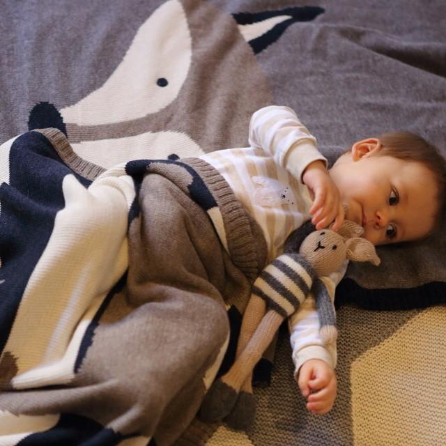 Bebé del invierno del bebé conejo zorro doble capa de algodón grueso de punto manta animal kindergarten manta manta fotografía asistido por dos
