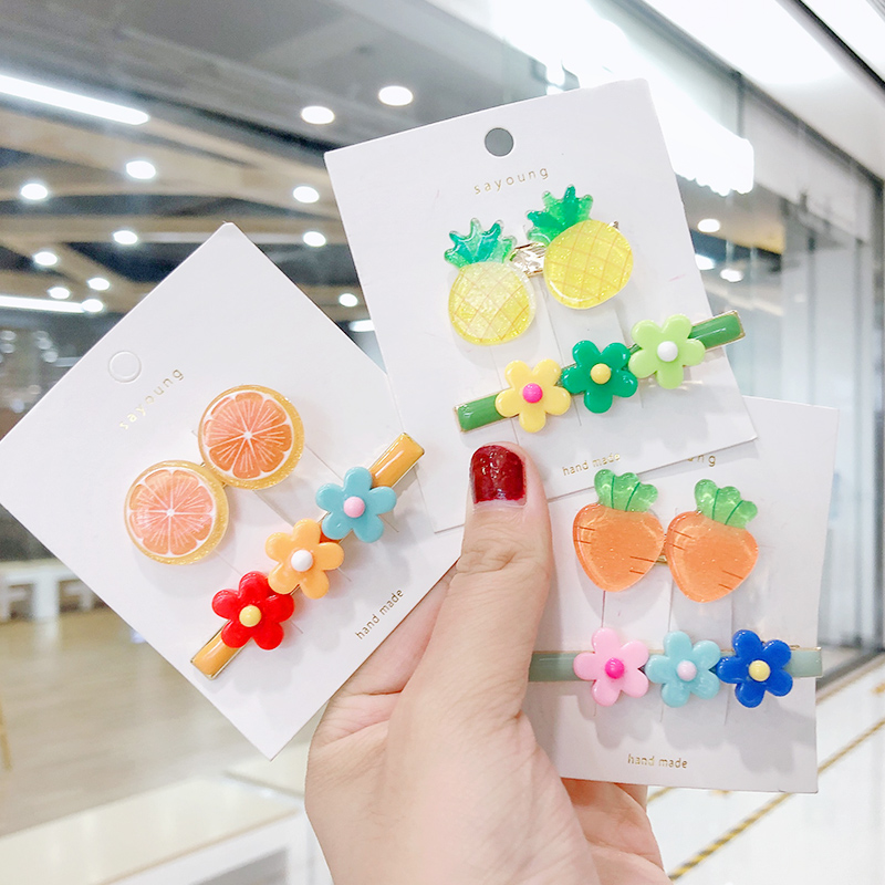 2PCS/Set New Girls Cute Orange Pineapple Carrot Flowers Hairpins Kids Sweet Headband Hair Clip Barrette Fashion Hair Accessories