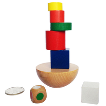 1 Set Kids Wooden Geometric Balanced Building 3d Puzzle Toys Montessori Educational Game for Children IQ Learning with Cloth Bag