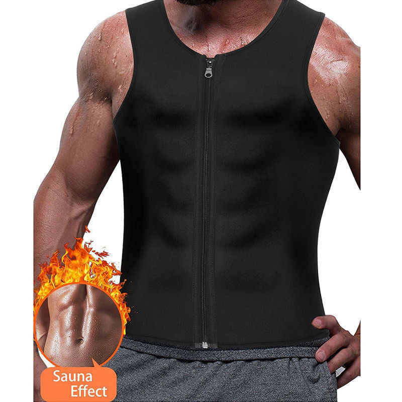 Dropship 2019 New Men's Slimming Neoprene Vest Sweat Shirt Body Shaper Waist Trainer Shapewear Men Top Shapers Clothing Male