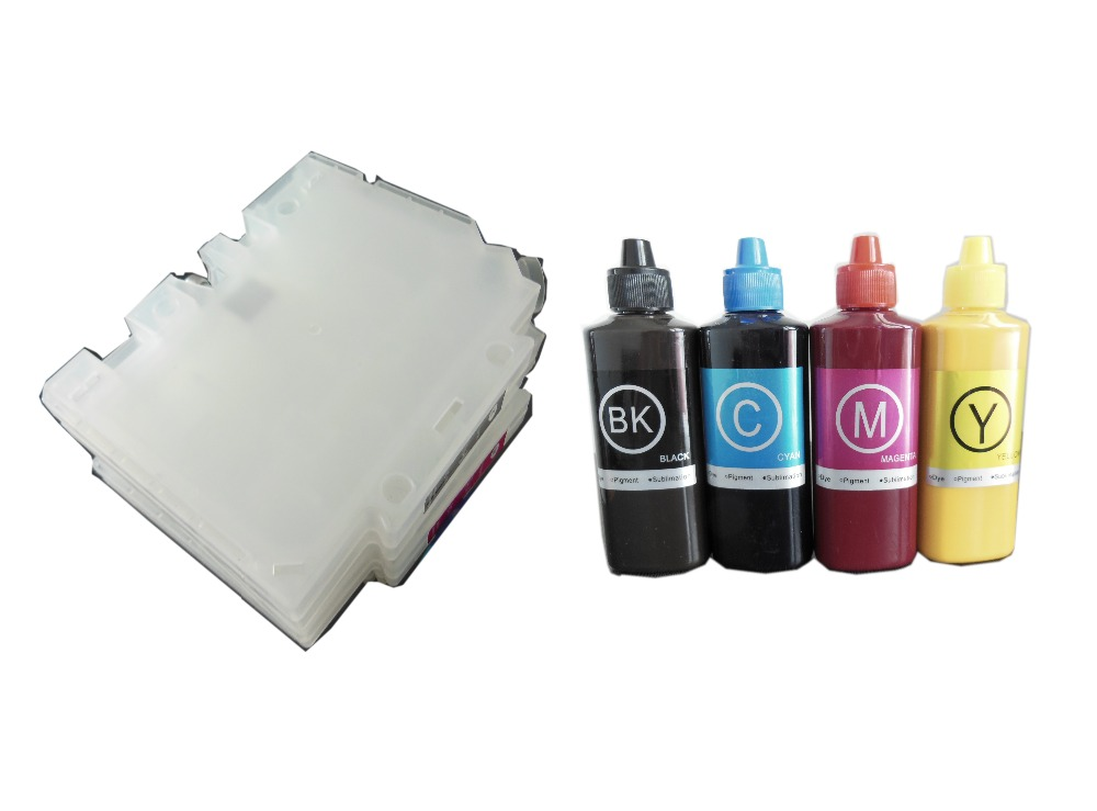 4X100ml Sublimation ink + 1Set GC31 refillable ink cartridge for Ricoh GXE3300 GXE5500 GXE2600 GXE5050N GXE5550N with chip 1pc used 100 page 1