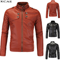 2016 Spring& autumn Leather Jacket Men Leather Jackets Stand Collar Leather Mens motorcycle Coat M-XXXXL