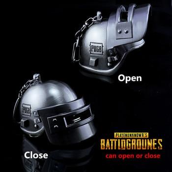 Game Playerunknown's Battlegrounds PUBG Cosplay Kostuums Zinklegering Lv3 Helm Armor Model Kan open close Sleutelhanger Sleutelhanger