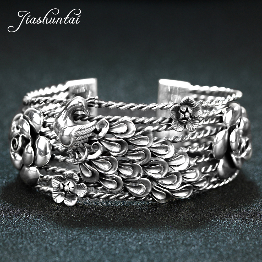 JIASHUNTAI Retro 925 Sterling Silver Bangles For Women Peacock Phoenix Flower Vintage Silver Jewelry Female Handmade