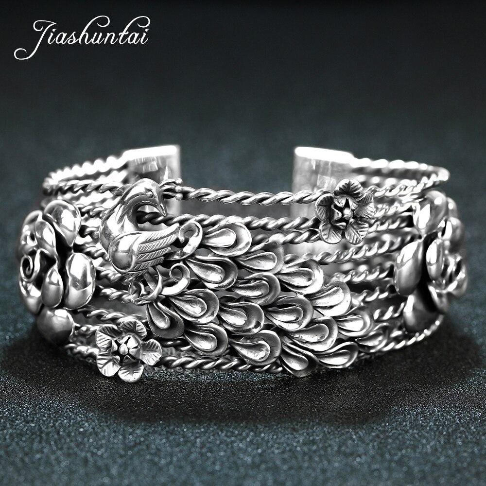 Takı ve Aksesuarları'ten Bilezikler'de JIASHUNTAI Retro 925 Ayar Gümüş Bilezik Kadın Tavuskuşu Phoenix Çiçek Vintage Gümüş Takı Kadın El Yapımı Açılış'da  Grup 1