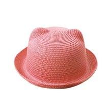 2019 de moda sombreros de sol verano encantadora gato oído sombrero para el sol  sombreros niños niñas niños paja gorras de moda . 07b5d0678f3