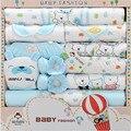 100% algodón Unisex recién nacido regalo fija el verano ropa de bebé niñas establece manga larga del o-cuello / niño establece azul amarillo rosa 18 unidades