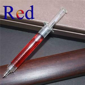 Image 2 - Pen Wholesale 200 pcs 0.7mm Steel Pen Syringe Magic Ballpoint Pen Blue ink Student Office Stationery Creative Gift Toy Pen