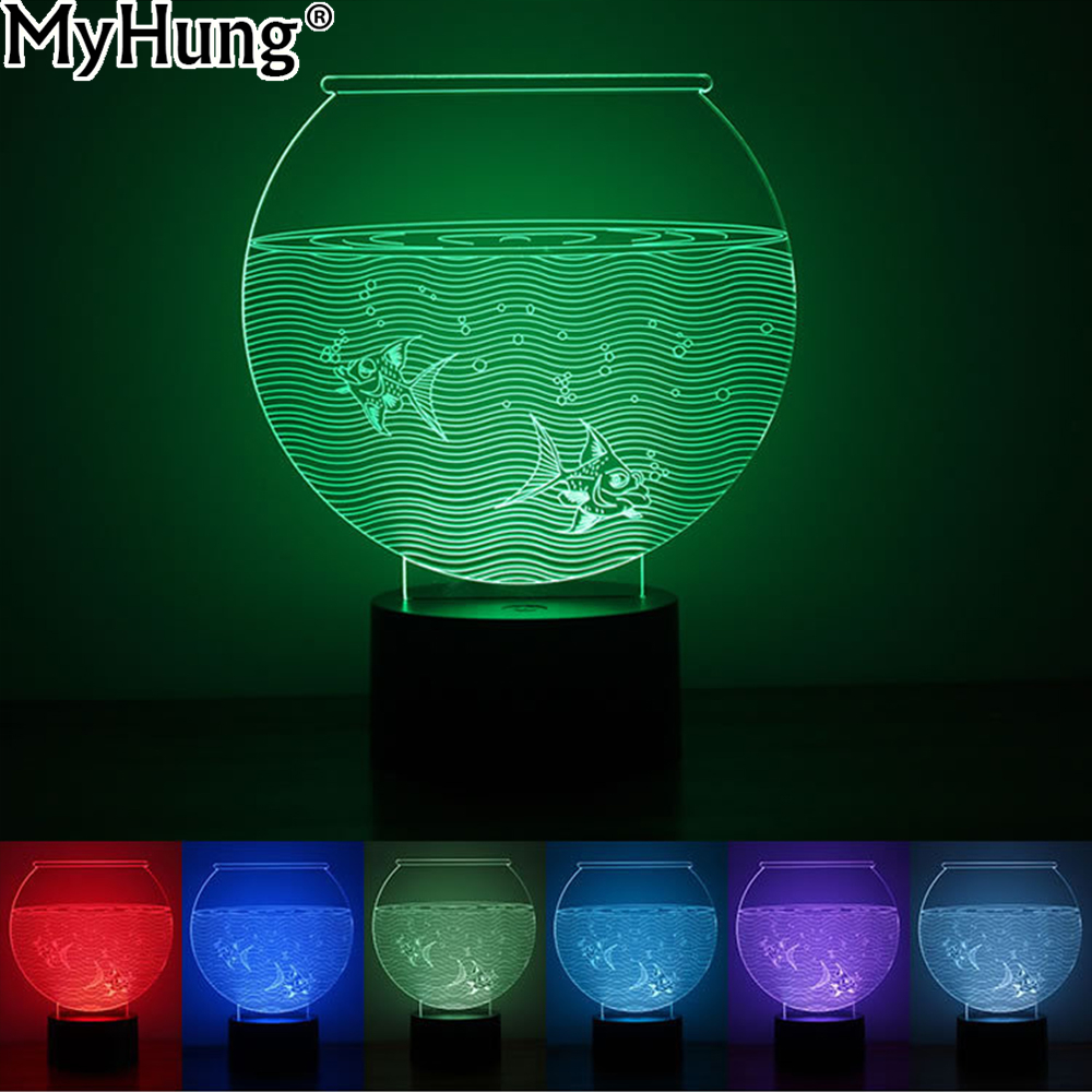 Fish tank night light - 3d Night Light Aquarium Enterprise Home Decoration Lamp Fish Tank Flash Party Atmosphere Illusion Nightlights Visual