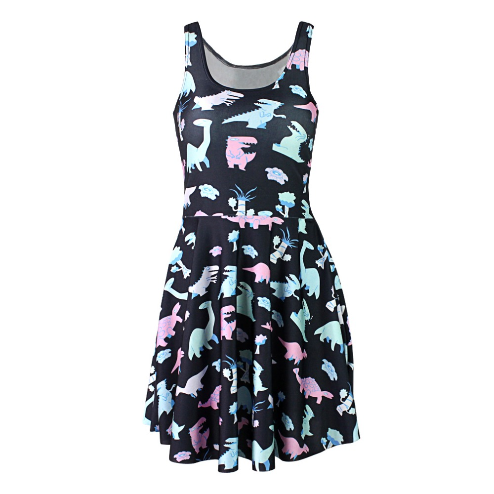 Black Milk 1131 Sexy Girl Women Summer cartoon various cute dinosaur 3D Prints Vest Reversible Sleeveless Skater Pleated Dress