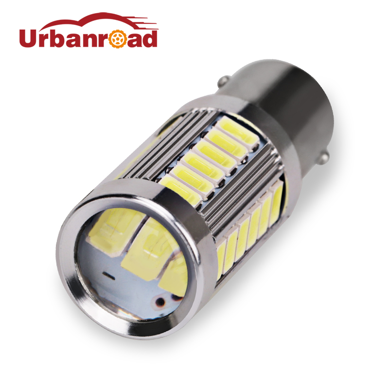 Urbanroad 1Pc White p21w 1156 Red Yellow DRL Turn Signal Lamp 33 Led 5630 5730 p21w Bulb 1156 Reverse Brake Light Projector Lens