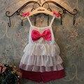 Новый 2015 Высокое качество Дети набор летних девочек одежда устанавливает Мило детские Груди лук Белый торт слои шифона рубашка + шорты костюм