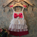 New 2015 High quality Kids set summer girls clothing sets Cute baby Chest bow White cake layers of chiffon shirt + shorts suit