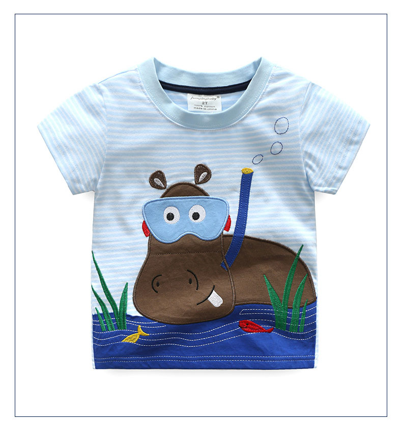 HTB1gNsiQFXXXXc1XXXXq6xXFXXXc - 2017 New Brand top quality kids clothing summer boys short sleeve O-neck t shirt Cotton embroidery cartoon striped tee tops
