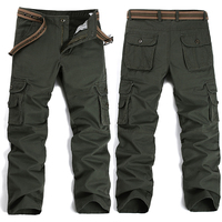 New Men's Cargo Pants Army Green Black Big Pockets Decoration Easy Wash Trousers Male Spring Autumn Casual Pants Men Plus Size