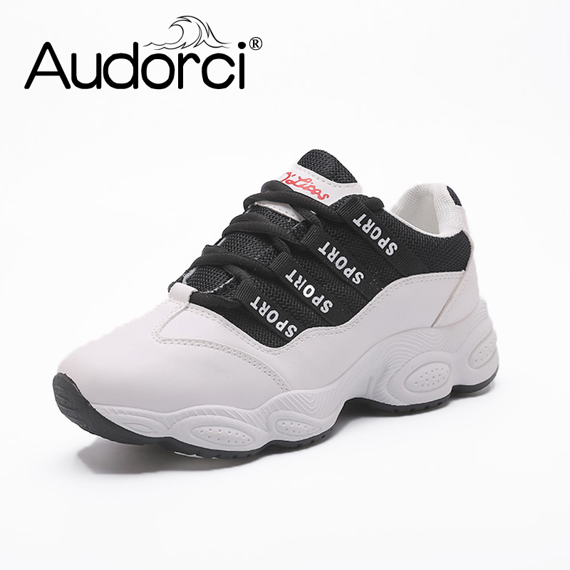 Audorci 2018 Spring Women Clunky Sneakers Woman Outdoor Walking Casual Shoes Fashion Breathable Casual Flats Size 35-40