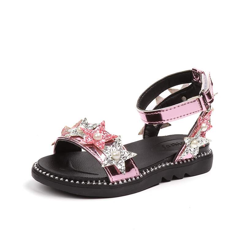 JGSHOWKITO Summer Girls Sandals Fashion Princess Girls Beach Shoes Kids Glitter Fabric With Pearl Five Stars Ankle Strap Sandals