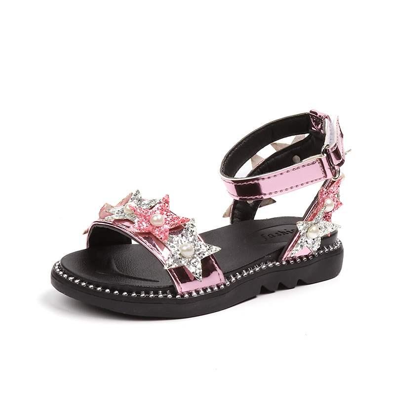 JGSHOWKITO Summer Girls Sandals Fashion Princess Girls Beach Shoes Kids Glitter Fabric With Pearl Five Stars Ankle Strap Sandals
