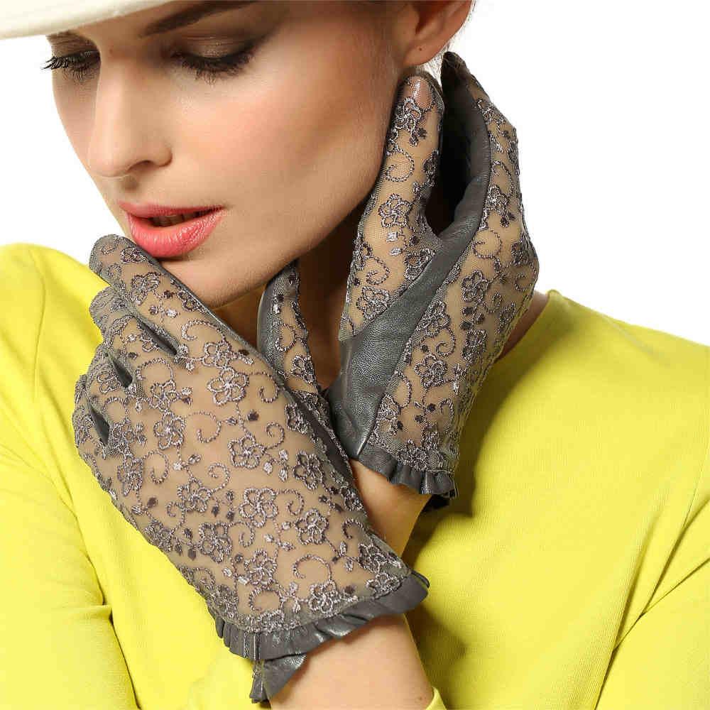Echtes Leder Frauen Handschuhe Mode Elegante Lady Lace Schaffell Handschuhe Ungefüttert Casual Short Style Sonnenschutz Handschuh L095N