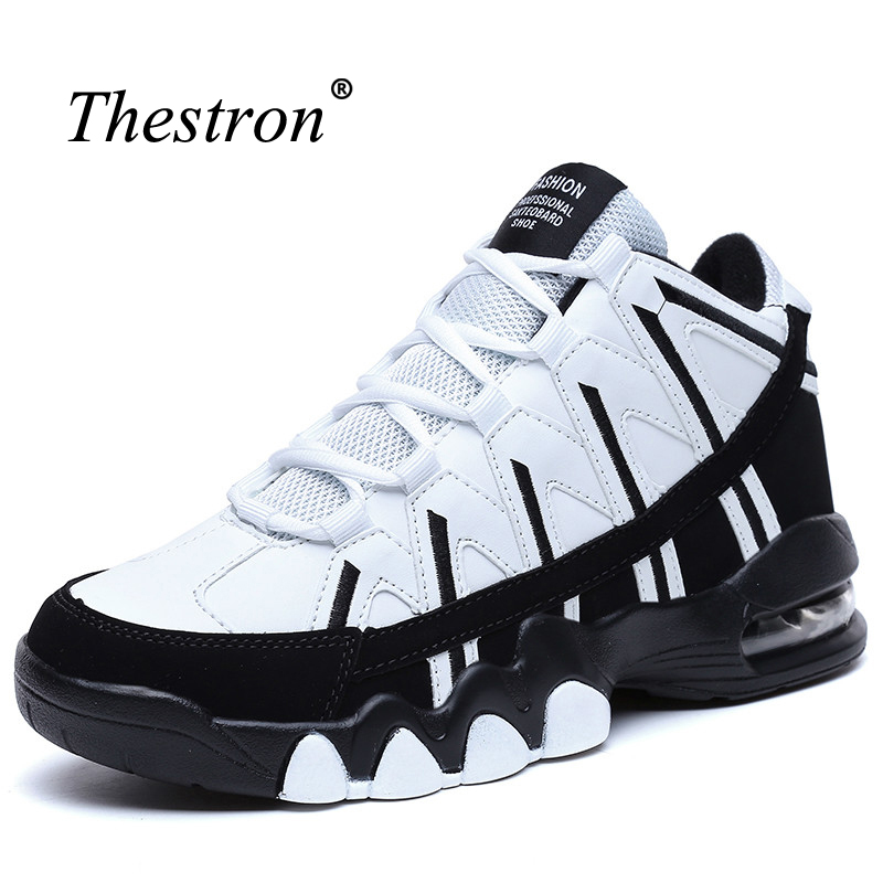 Thestron Big Size Men Running Trainers Top Trail Running Shoes Men Autumn/Winter Men Athletic Shoes Black White Sneakers Men nike men s indee high shoes athletic sneakers leather white