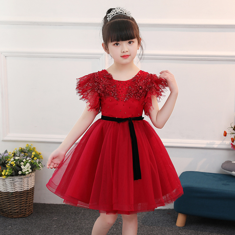 цены на New Flower Girl Dresses Beading Ball Gown Princess Dress Birthday Party Gowns Short Sleeve Mesh Wedding Kids Pageant Dress Red в интернет-магазинах