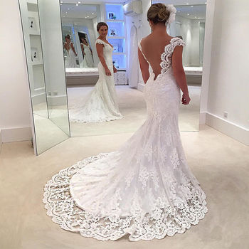 Vestido De Noiva Sexy Vintage White Backless Lace Mermaid Wedding Dress 2019 cap Sleeve Wedding Gown Bride Dress
