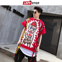 LAPPSTER Streetwear Hip Hop Lint Grappige T-shirts Mannen 2019 Zomer Heren Harajuku Rode Hypebeast Tshirt Japan Mode Rode Tees tops(China)