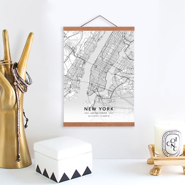 New York United States City Map Wooden Framed Canvas Painting Home