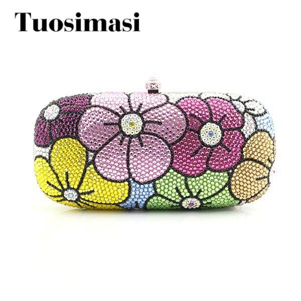 2016 Fashion flower pattern handmade crystal evening party clutch purse