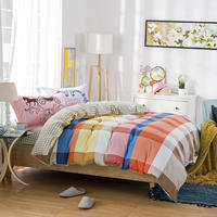 100% Cotton Bright Color Plaid Beddings Bed Sheet Sets Girls/Adults 4/5PC Quilt Cover 400TC Full Queen Sizes Pillow sham Horse
