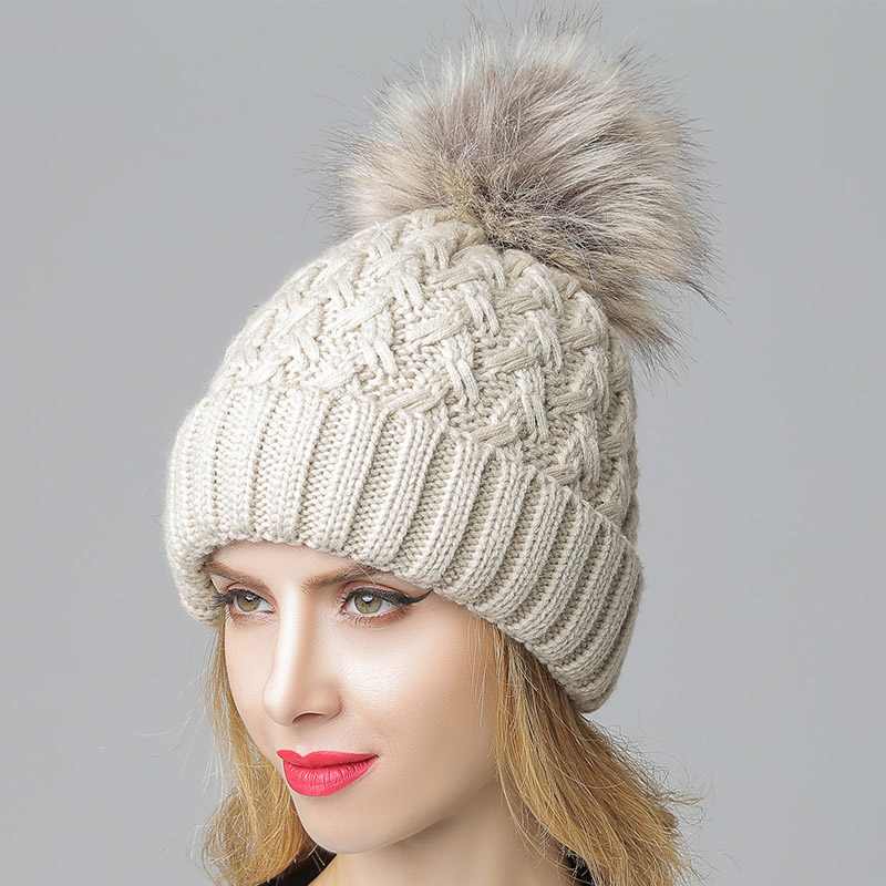 Big Pompom Knitted Hat Head woman Winter Solid Color Outdoor Casual Skullies & Beanies Thick Warm Hats & Cap Fashion Accessories new winter beanies solid color hat unisex warm grid outdoor beanie knitted cap hats knitted gorro caps for men women