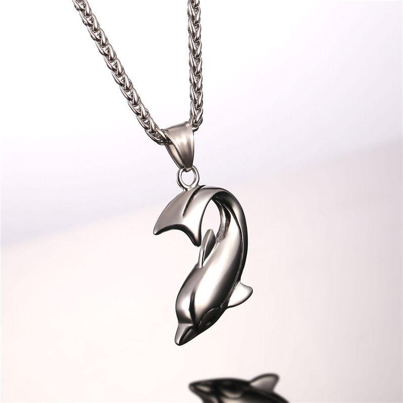 U7 ogrlica s dupinima srebrna boja privjesak i lanac od nehrđajućeg - Modni nakit - Foto 3