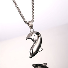 Dolphin Necklace Silver Color Stainless Steel Pendant & Chain For Women Gift Lovely Cute Animal Charm Jewelry 2017 Hot P1037
