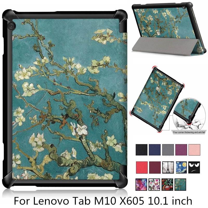 For Lenovo Tab M10 TB-X605F Case Nice Print Tri-Fold Magnetic Cover Tab M10 M 10 X605 X605f Tablet Protective Shell Skin Fundas