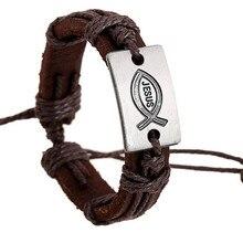 Vintage Genuine Leather Jesus Fish Bracelet Christian Bracelets Ichthys Christian Prayer Cuff Bracelet Popular Jewelry Men Women