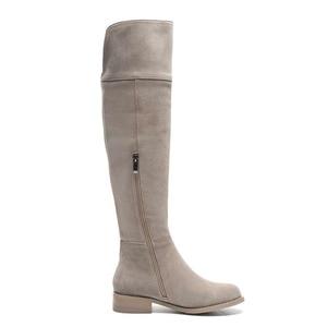 Image 3 - גבוהה רחוב אופנה מוצק zip עור אמיתי ירך גבוהה מגפי בוהן עגול נמוך עקבים רומא אלגנטי נקבה מעל הברך מגפי L51