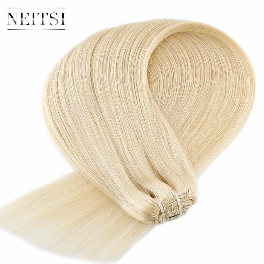 """Neitsi прямые искусственные волосы одинаковой направленности клип на волосы полная голова 100% человеческих волос для наращивания 20 """"24"""" 100 г 7 шт. 16 зажимов 10 цветов"""