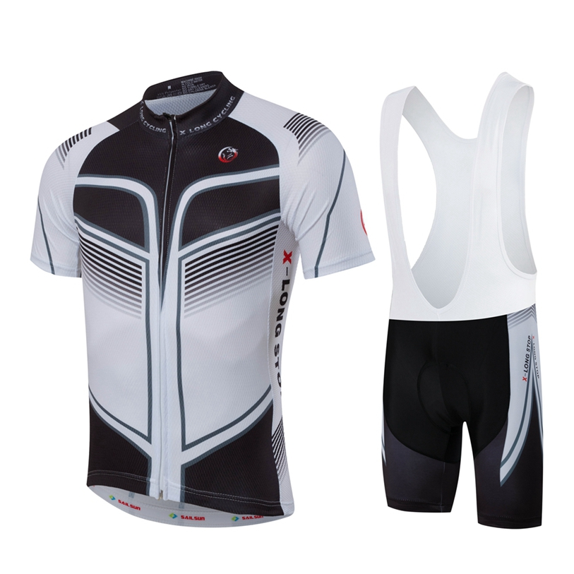 Hot SAIL SUN Men Bike Jersey Bib Shorts Black White Pro MTB Team Cycling Jersey Top Sportswear Bicycle Clothing for Summer 2016 new men s cycling jerseys top sleeve blue and white waves bicycle shirt white bike top breathable cycling top ilpaladin