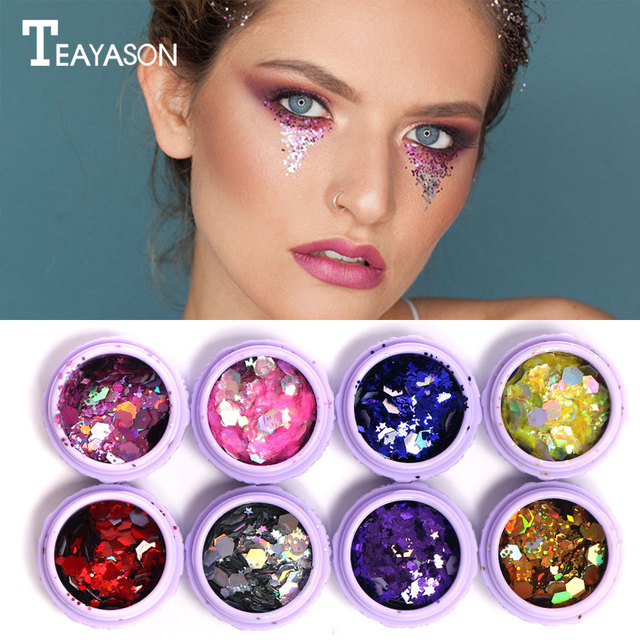 Laser sequins blades and beautiful ornaments product marca rave makeup look purple dragon festival party