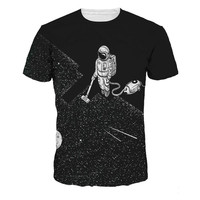 Men T Shirts 3D Space Robot Printed O Neck Men S Creative Tshirt Spring New Fashion
