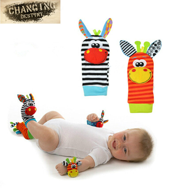 2pcs Baby Rattles Toys Plush Foot Socks Watch Wrist Strap Babies Newborn Soft Children Infant Educational Mobile Musical Toys