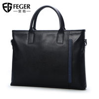 Men's Genuine Leather handbag Men Bag Business tote bag Slim Laptop Briefcase Male Bags FEGER 2019 zipper bag for man black