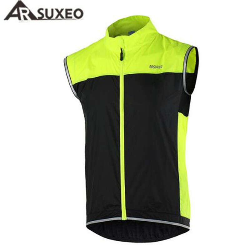 ARSUXEO Men Cycling Vest MTB Bike Bicycle Breathable Windproof Waterproof Clothing Sleeveless Jacket